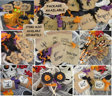 Halloween Party Decorations - Banner Cupcake Toppers Candy Bags & Boxes Trick or Treat