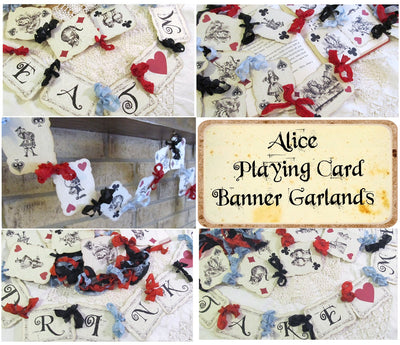 Vintage Alice Playing Card Banner Sign