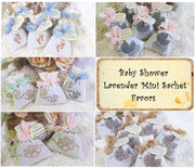 Baby Shower Favor - 10 Lavender Mini Sachet - Baby Feet Footprints Shoes Carriage Handprints