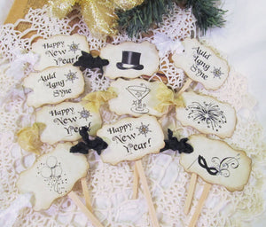 Happy New Year Party Decorations - Banner - Cupcake Toppers - Party Straws - Vintage Style