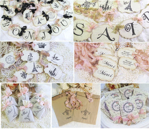 French Paris Bridal Shower Decorations - Banner She Said Oui Bonjour - Cupcake Toppers - Favor Tags - Favor Bags - French Shower Favors