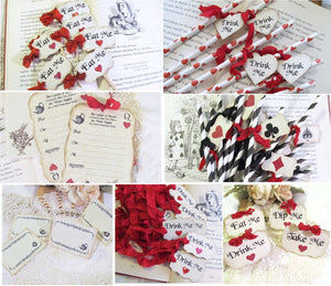 Alice Party Decorations - Red Hearts Cupcake Toppers - Favor Tags - Eat Me Drink Me Take Me - Mad Tea Party Unbirthday Shower Invitations