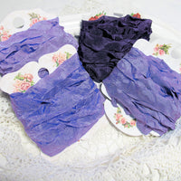 24 Yards Vintage Seam Binding Ribbon - PURPLES #2 - 6 Yards Each of 4 Colors - Crinkled Scrunched Lavender Periwinkle Purple Violet Iris