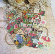 9 Vintage Seed Packet Catalog Image Gift Hang Tags with twine - Vintage Vegetable Fruit Flowers Tags - Printed - Mix #1