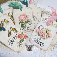 9 French Merci Gift Hang Tags with ribbons - Vintage Style Tags - Printed - Birds Roses Flowers Hydrangea Shabby Style Floral