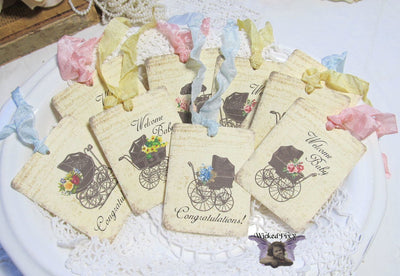 9 Vintage Carriage Gift Hang Tags with ribbons - Vintage Style Tags - Printed - Baby Shower Gift Tags Shabby Style Floral