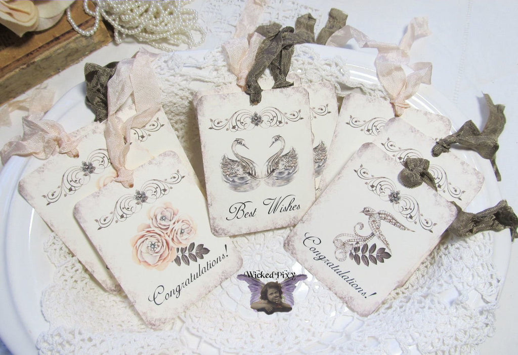 9 Wedding Gift Hang Tags with ribbons - Vintage Style Tags - Printed - Bridal Shower Gift Tags Shabby Style Swans Flowers Dove Peach Brown