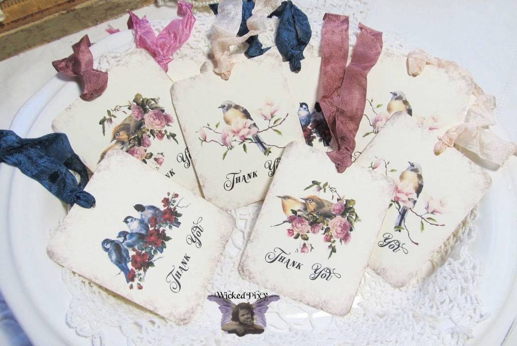 9 Vintage Bird Roses Gift Hang Tags with ribbons - Vintage Style Thank You - Printed - Birds Roses Flowers Shabby Style Floral Gift Wrap