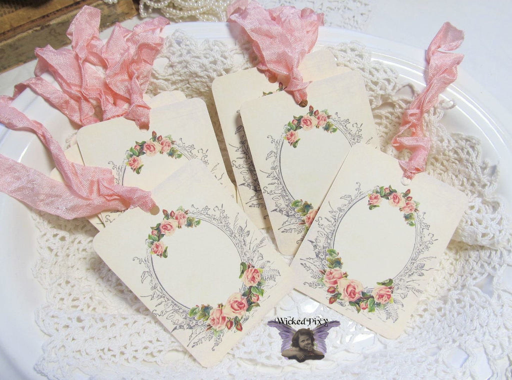 9 French Frame Roses Blank Gift Hang Tags with ribbons - Vintage Style Tags - Printed - Roses Flowers Shabby Style Floral Journaling