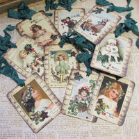 9 Christmas Postcard Gift Hang Tags with ribbons - Vintage Style Tags - Printed  - Vintage Children Holly