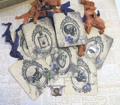9 Gothic Halloween Gift Hang Tags with ribbons - Witch Mirror - Vintage Style Tags - Printed  - Vintage Horror Ephemera Images