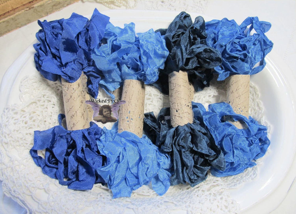 24 Yards Vintage Seam Binding Ribbon - BLUES #1 - 6 Yards Each of 4 Colors - Crinkled Scrunched Royal Blue Ocean Medium Blue Cobalt Sky