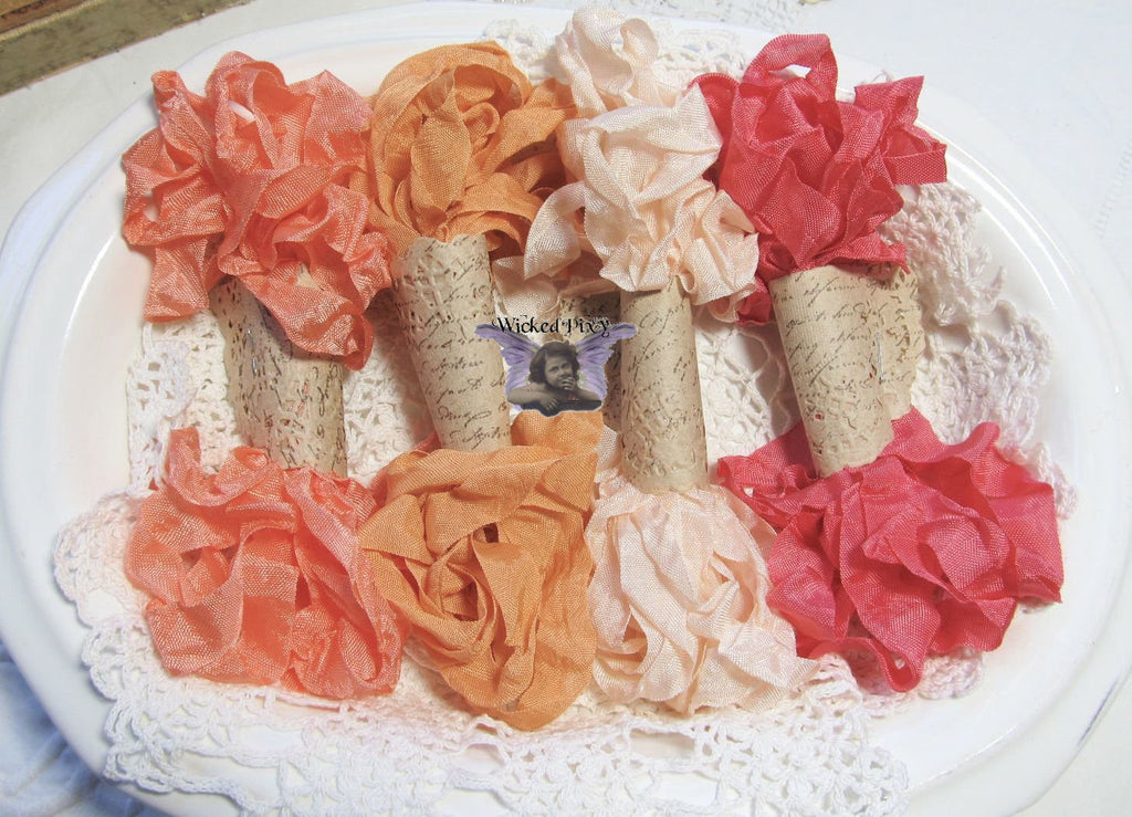 24 Yards Vintage Seam Binding Ribbon - PEACHES #1 - 6 Yards Each of 4 Colors - crinkled scrunched Peach Mango Orange Coral Salmon