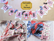 It's a Boy Baby BBQ Shower Package Bundle Kit - Banner Favor Tags Straws