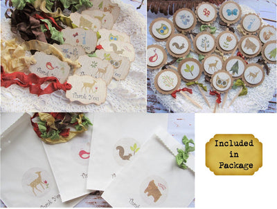 Woodland Baby Animals Forest Favor Tags Bags & Cupcake Toppers