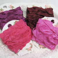 24 Yards Vintage Seam Binding Ribbon -BERRIES #2- 6 Yards Each of 4 Colors - Crinkled Scrunched Raspberry Plum Strawberry Pink Wine Hug Snug