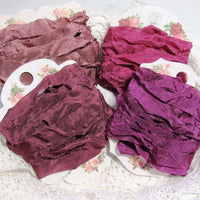 24 Yards Vintage Seam Binding Ribbon - SUMMER WINE - 6 Yards Each of 4 Colors - Crinkled Scrunched Sangria Fuchsia Berry Wine Port Hug Snug