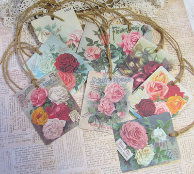 9 Roses Vintage Seed Packet Catalog Image Gift Hang Tags with twine - Vintage Flower Tags - Printed - Roses #1