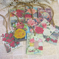 9 Roses Vintage Seed Packet Catalog Image Gift Hang Tags with twine - Vintage Flower Tags - Printed - Roses #2