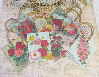 9 Vintage Seed Packet Catalog Image Gift Hang Tags with twine - Vintage Flower Tags - Printed - Flowers #2