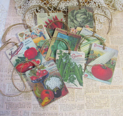 9 Vintage Seed Packet Catalog Image Gift Hang Tags with twine - Vintage Vegetable Tags - Printed - Vegetables #1