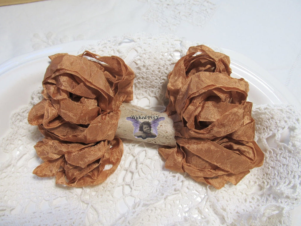 10 Yards Vintage Seam Binding Ribbon - COPPER - Crinkled Scrunched Hug Snug rust brown Shabby Ribbon