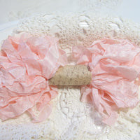 10 Yards Vintage Seam Binding Ribbon - PEACH PINK - Crinkled Scrunched Hug Snug Shabby Ribbon peach pink