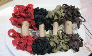 24 Yards Vintage Seam Binding Ribbon - CABIN LIFE - 6 Yards Each of 4 Colors - Crinkled Scrunched Olive Green Red Black Brown Rustic Buffalo