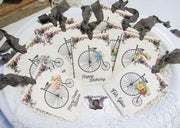 9 Vintage Bicycle Gift Hang Tags with ribbons - Vintage Style Tags - Printed - Happy Birthday Gift Tags Shabby Style Floral