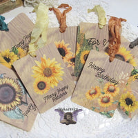 9 Sunflowers Gift Hang Tags with ribbons - Vintage Style Tags - Printed - Happy Birthday Gift Tags Shabby Style Floral