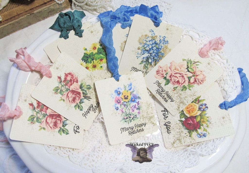 9 Floral Flowers Gift Hang Tags with ribbons - Vintage Style Tags - Printed - Happy Birthday Gift Tags Shabby Style Floral Roses