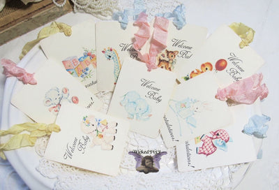 9 Vintage Toys Gift Hang Tags with ribbons - Vintage Style Tags - Printed - Baby Shower Gift Tags Shabby Style Elephant Bear Lamb Blocks