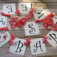 Sweet Baby Coral Floral Shower Banner Garland Sign - Gender Neutral