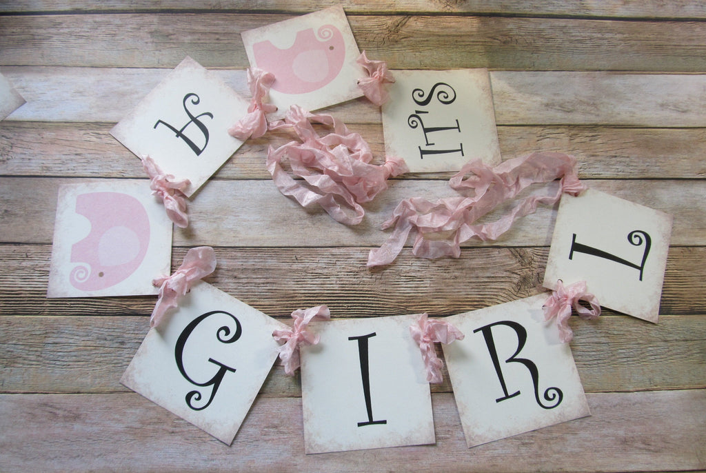 It's a Girl or It's a Boy Pastel Elephant Shower Banner