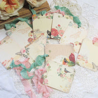 9 French Ledger Roses Gift Hang Tags with ribbons - Vintage Style Tags - Printed - Roses Flowers Shabby Style Floral Journaling Butterfly