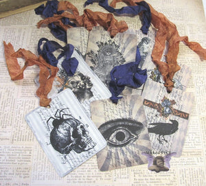 9 Gothic Halloween Gift Hang Tags with ribbons - Vintage Style Tags - Printed  - Vintage Horror Ephemera Images