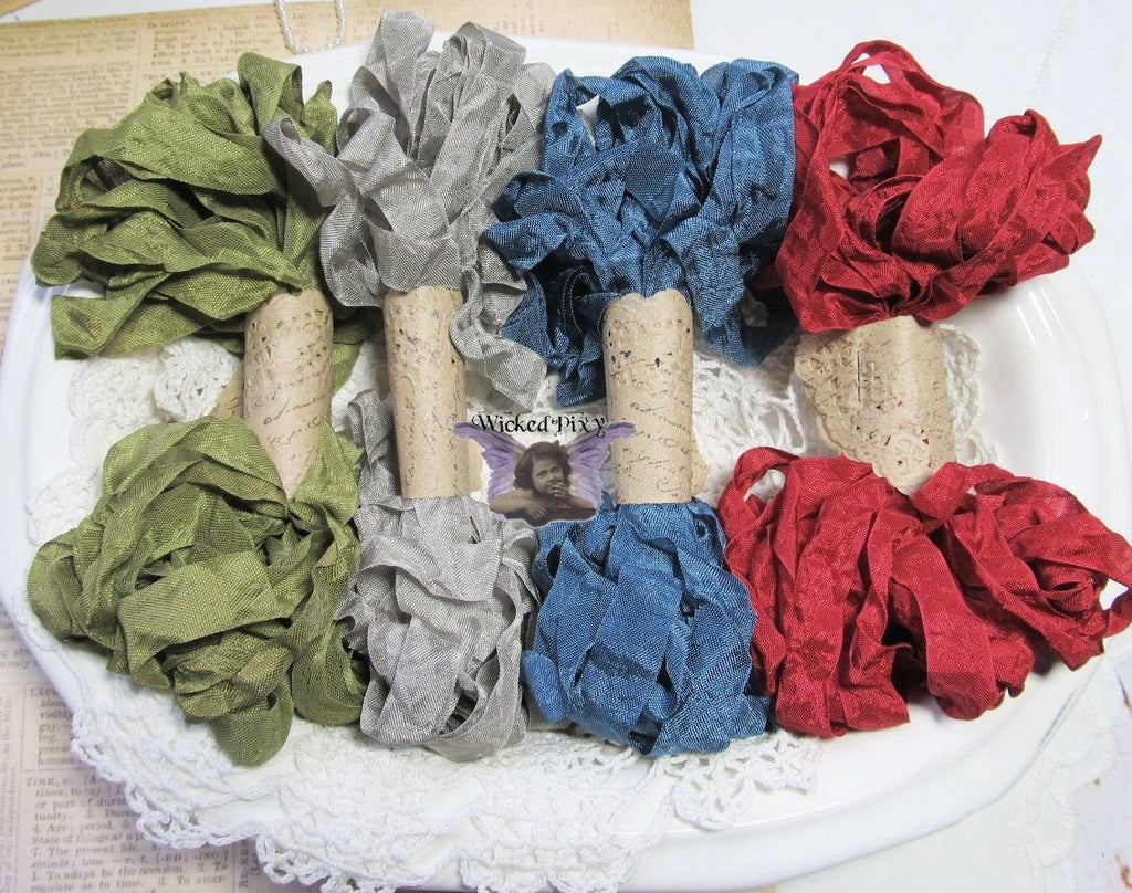 24 Yards Vintage Seam Binding Ribbon - LAKE HOUSE - 6 Yards Each of 4 Colors- Crinkled Scrunched Hug Snug nautical olive gray red blue