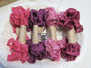 24 Yards Vintage Seam Binding Ribbon - BERRIES #1 - 6 Yards Each of 4 Colors - Crinkled Scrunched Burgundy Wine Fuchsia Mauve Berry Plum