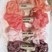 24 Yards Vintage Seam Binding Ribbon - DESERT SUNRISE - 6 Yards Each of 4 Colors - Crinkled Scrunched Orange Coral Salmon Peach Hug Snug