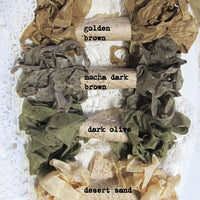 24 Yards Vintage Seam Binding Ribbon - DESERT CAMO - 6 Yards Each of 4 Colors - Crinkled Scrunched Brown Cedar Sand Beige Olive Chocolate