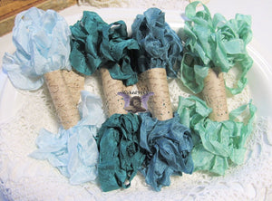 24 Yards Vintage Seam Binding Ribbon - GREENS #2 - 6 Yards Each of 4 Colors - Crinkled Scrunched mint aquamarine forest green ribbon