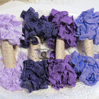24 Yards Vintage Seam Binding Ribbon - PURPLES #1 - 6 Yards Each of 4 Colors - crinkled scrunched Periwinkle Purple Eggplant Grape Lilac