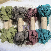 24 Yards Vintage Seam Binding Ribbon - WOODLAND WALK - 6 Yards Each of 4 Colors - Crinkled Scrunched Evergreen Brown Olive Moss Mahogany