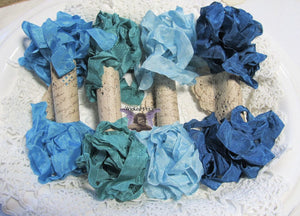 24 Yards Vintage Seam Binding Ribbon - PEACOCK #1 - 6 Yards Each of 4 Colors - crinkled scrunched Jade Green Aqua Blue Teal Turquoise