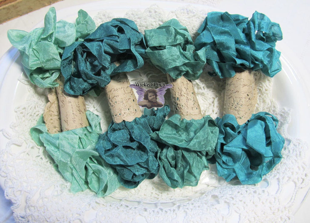 24 Yards Vintage Seam Binding Ribbon - EMERALD CITY - 6 Yards Each of 4 Colors - Crinkled Scrunched Green Emerald Jade Hug Snug