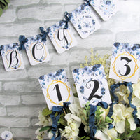 It's a Boy Classic Blue Watercolor Floral Boho Baby Shower Decorations Package