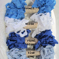 24 Yards Vintage Seam Binding Ribbon - BLUE CHRISTMAS - 6 Yards Each of 4 Colors - Crinkled Scrunched Royal Blue White Cobalt Silver Gray