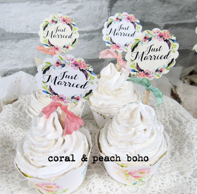Watercolor Floral Just Married Cupcake Toppers