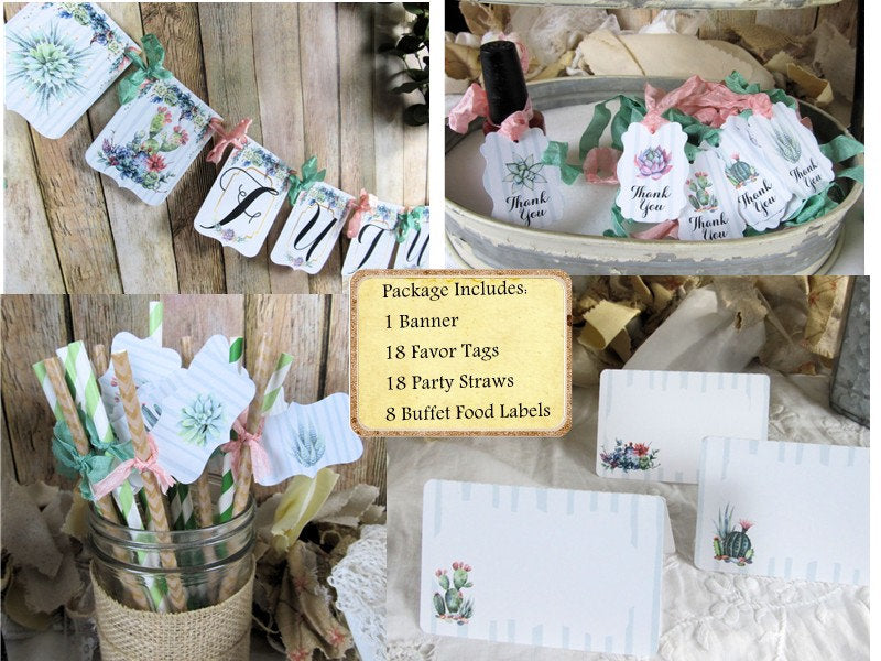 Succulent Cactus Bridal Shower Decorations Package Future Mrs. Bride to Be