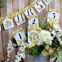 Lemon Yellow Watercolor Floral Baby Shower Decorations Package